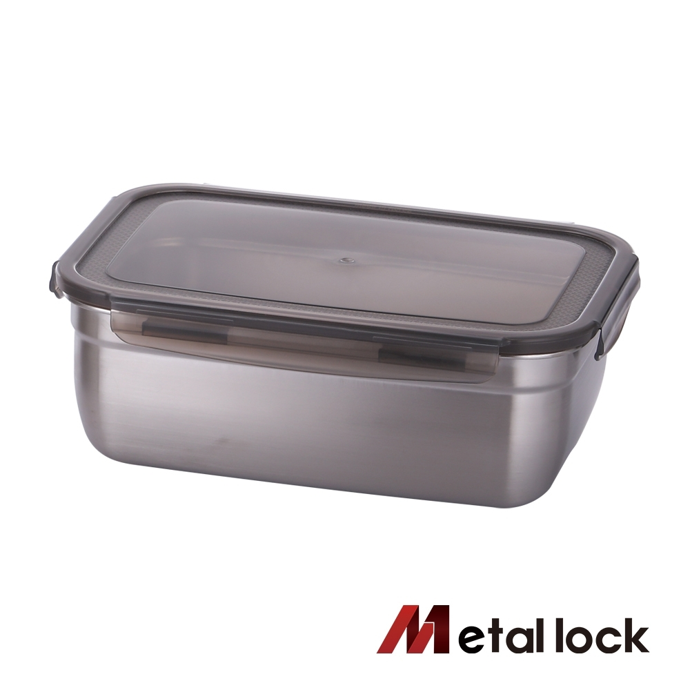 韓國Metal lock方形不鏽鋼保鮮盒3000ml.露營野餐不銹鋼環保收納長方形大容量