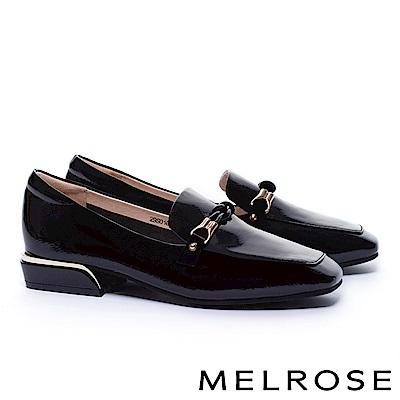 低跟鞋 MELROSE 經典知性交織條細帶全真皮樂福低跟鞋-黑
