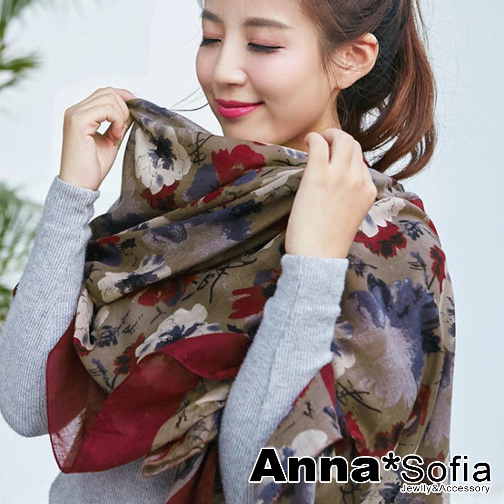 【滿額75折】AnnaSofia 古典花繪染 拷克邊韓國棉圍巾披肩(深酒紅咖)