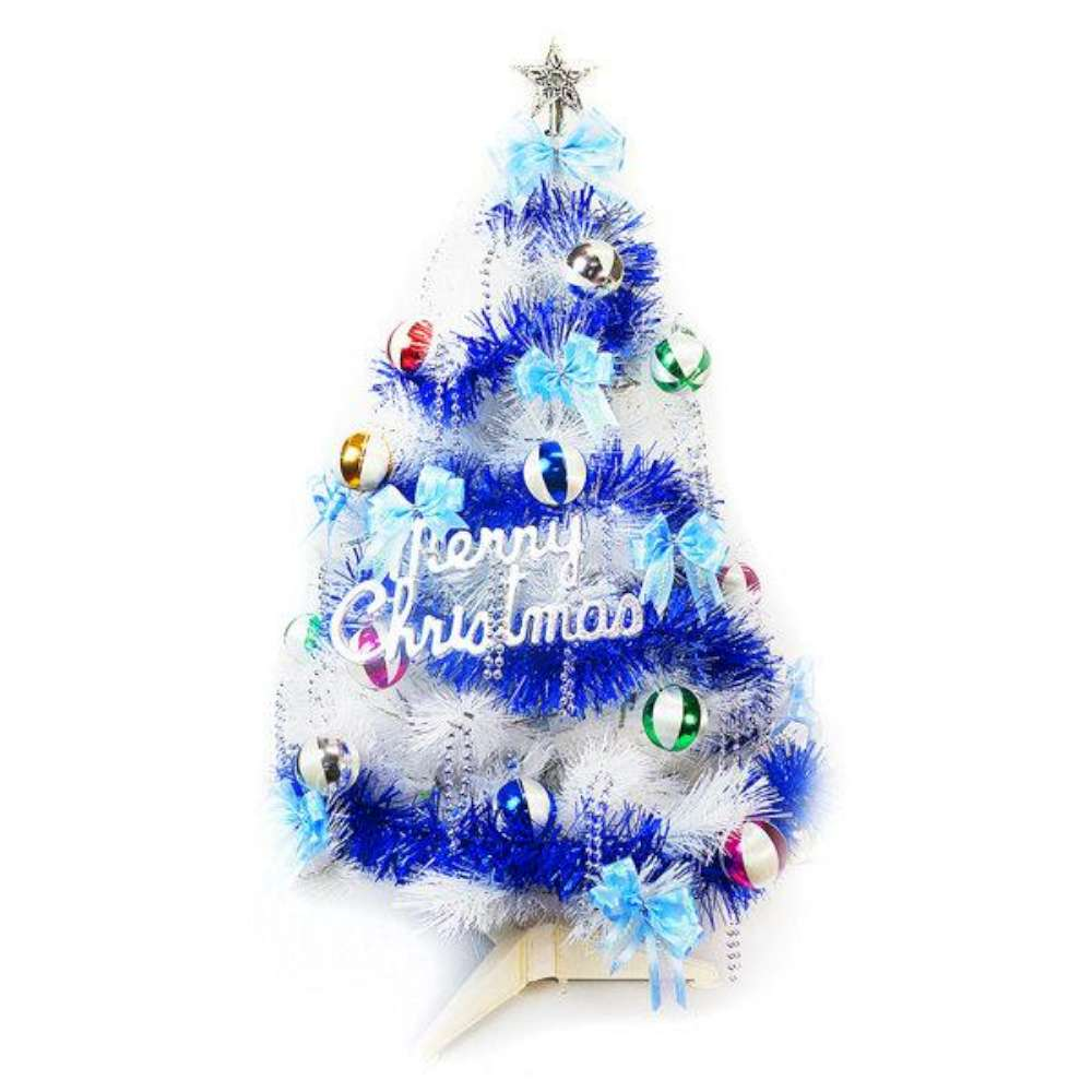 摩達客 3尺(90cm)特級白色松針葉聖誕樹(繽紛馬卡龍藍銀色系/不含燈)