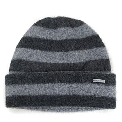 MICHAEL KORS 雙色條紋飾牌純羊毛毛線帽(淺灰雙色-男女皆宜)