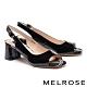 高跟鞋 MELROSE 魅力風采鍊條花布造型魚口高跟鞋-黑 product thumbnail 1