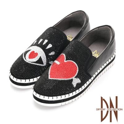 DN休閒鞋_搶眼真皮造型滿鑽厚底休閒鞋-黑
