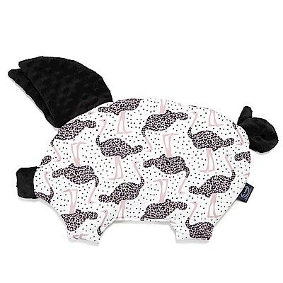 La Millou 豆豆小豬枕-模特兒鴕鳥(法蘭黑炫風)
