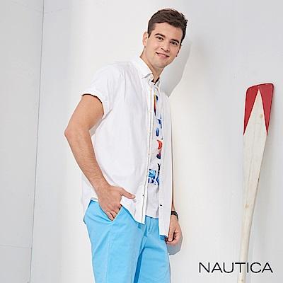 Nautica經典原色短袖襯衫-白色