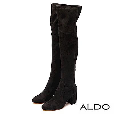 ALDO 原色真皮鞋墊後拉鍊粗跟膝上靴~尊爵黑色