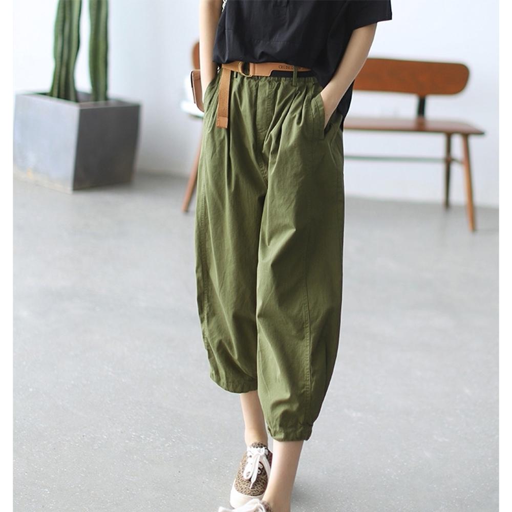 老爹褲高腰顯瘦九分哈倫褲送腰帶四色可選-設計所在 (森綠)