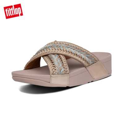 FitFlop LULU METALLIC WEAVE SLIDES 針織交叉涼鞋-女(玫瑰金)