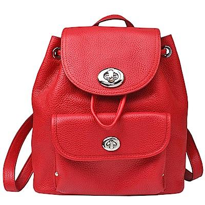 【COACH】金屬馬車旋釦前口袋皮革後背包(紅)
