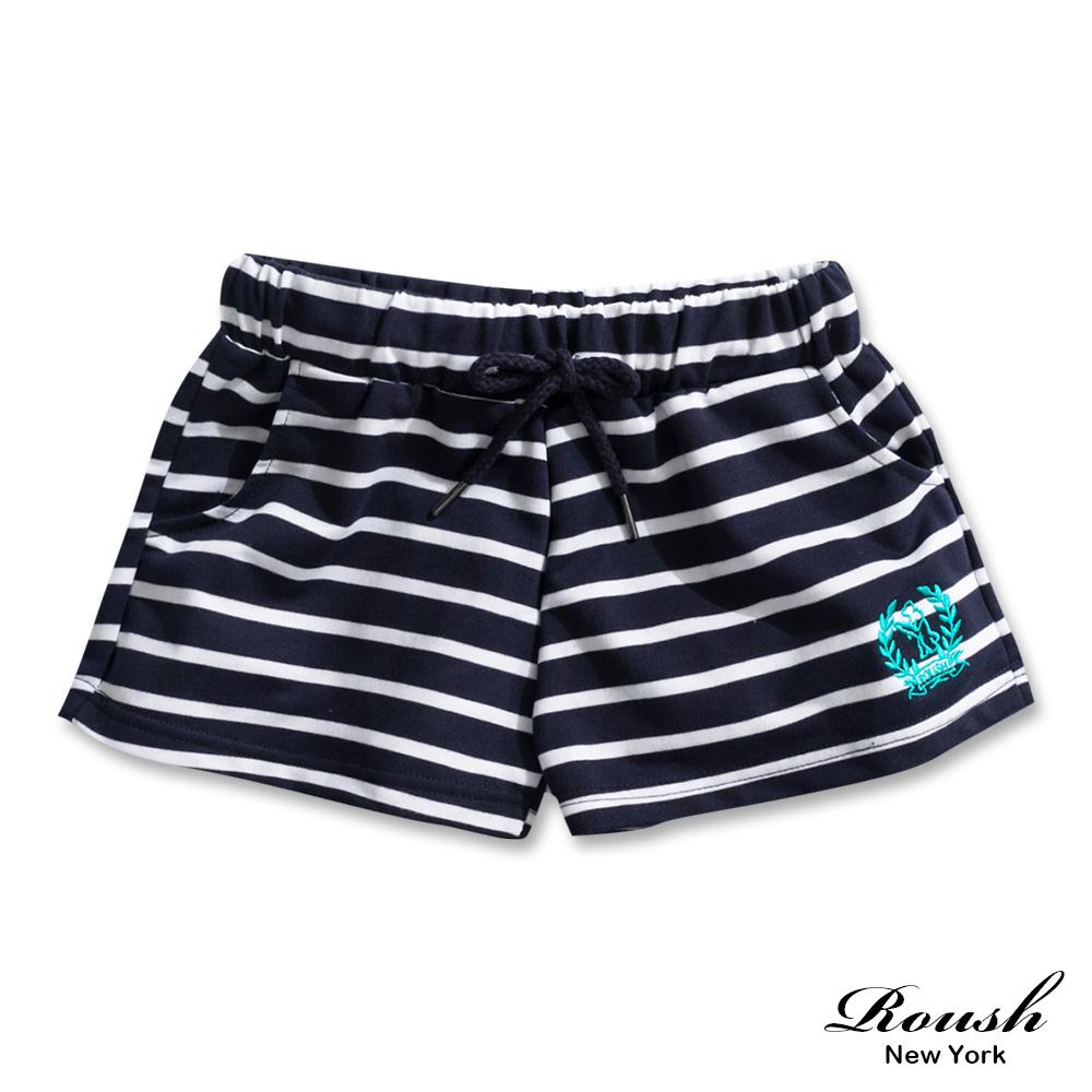 Roush 女生美式甜美橫紋短棉褲(2色)