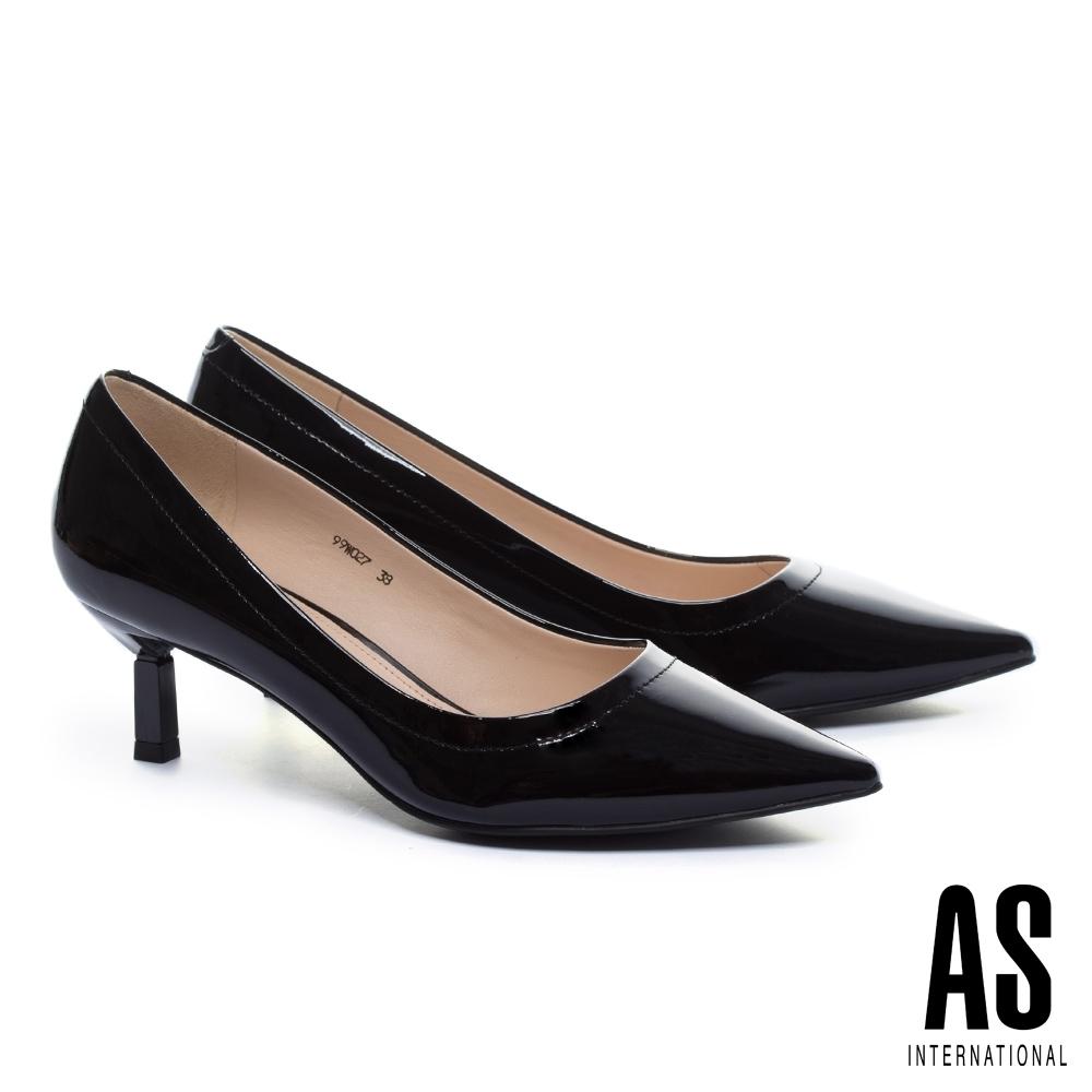 高跟鞋 AS 極簡品味質感牛軟漆皮素面尖頭高跟鞋-黑