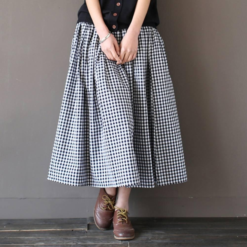 La Belleza格子鬆緊腰黑色抽繩色側口袋闊腿寬褲褲裙