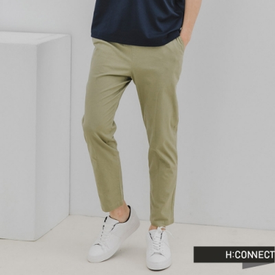 H:CONNECT 韓國品牌 男裝-純色百搭鬆緊Straight直筒褲-綠色