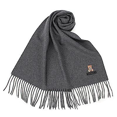 MOSCHINO 經典刺繡TOY小熊羊毛圍巾-深灰色