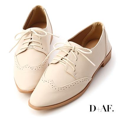 D+AF 經典英倫.雕花綁帶尖頭牛津鞋*米白