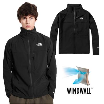 The North Face 男新款 WindWall 可調節防風防潑水外套/軟殼夾克_黑 N