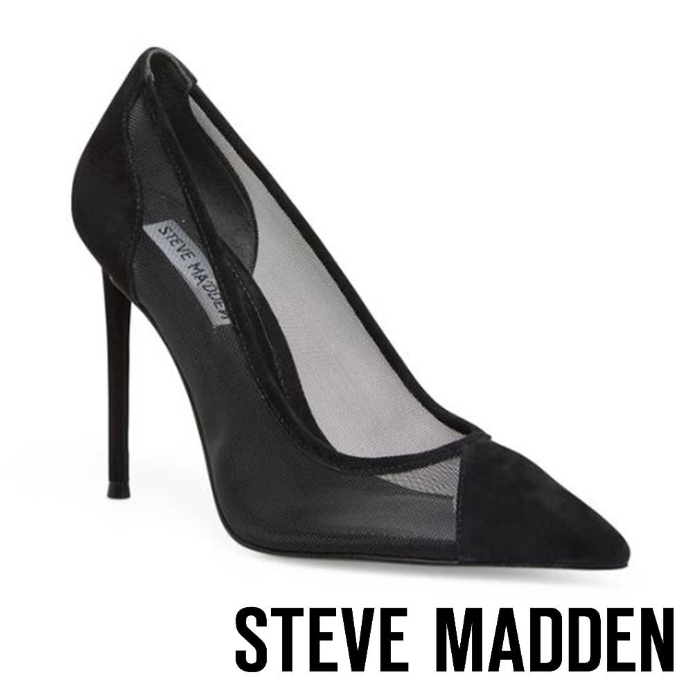STEVE MADDEN-MESHA 時尚拼接透膚簍空細跟高跟鞋-黑色