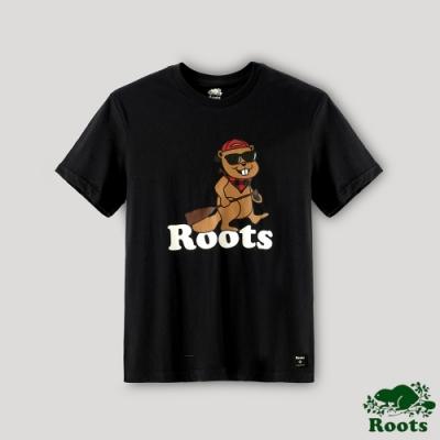 Roots男裝-湖畔小木屋系列 Q版海狸划槳短袖T恤-石墨色