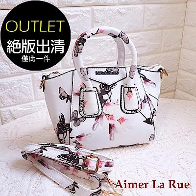 Aimer La Rue 氣質印花手提側背包(白色)(絕版出清) @ Y!購物