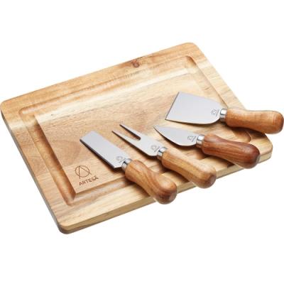 《Master》Artesa起司刀叉4件+木輕食盤