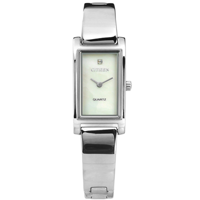 CITIZEN 珍珠母貝秀氣細緻晶鑽不鏽鋼手錶-銀色/14mm