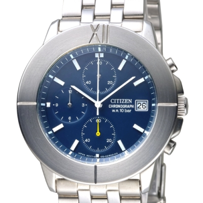 CITIZEN 鋼鐵傳說潮流三眼碼錶計時男錶-深藍(AN3060-54L)/39mm 保固二年