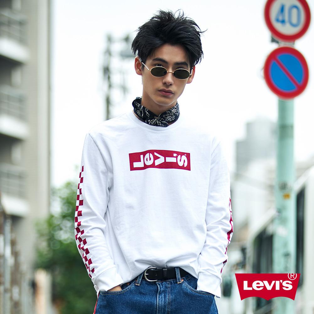 Levis 男款 長袖T 袖子胸前文字LOGO 白紅