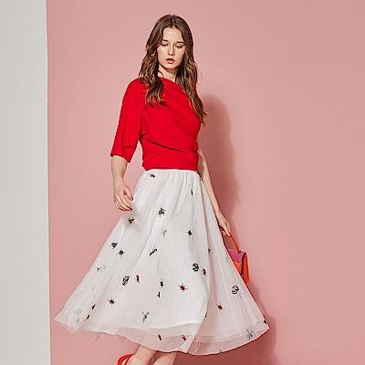 ICHE 衣哲 浪漫拼接刺繡印花網紗造型中長紗裙-氣質白