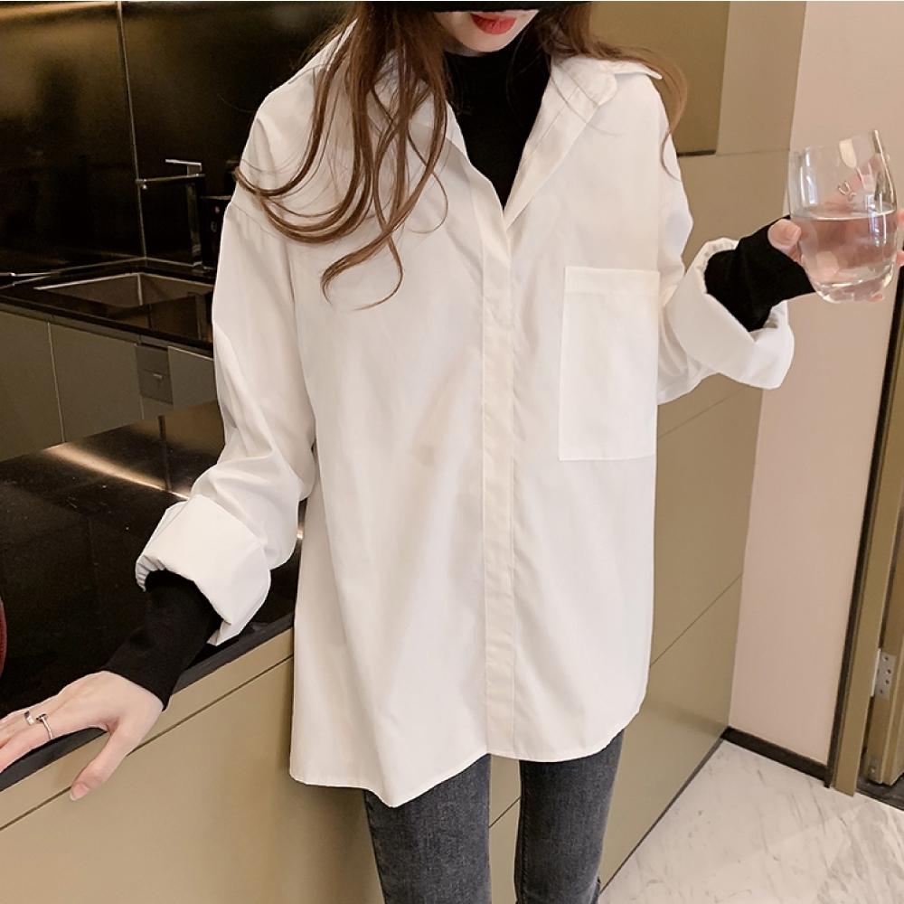 中大尺碼假兩件黑色圓領內搭拼接小喇叭袖寬鬆襯衫L~4L-Ballet Dolly (白)