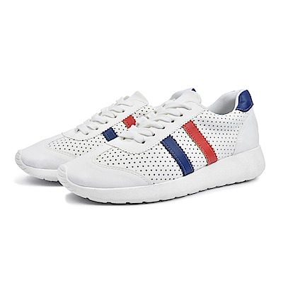 BuyGlasses 雙線拼接透氣慢跑鞋-藍紅