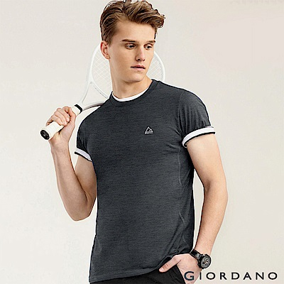 GIORDANO  男款G-MOTION素色LOGO運動短袖T恤-08 標誌灰