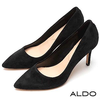 ALDO 原色真皮綴金屬LOGO尖頭細高跟鞋~麂皮黑色