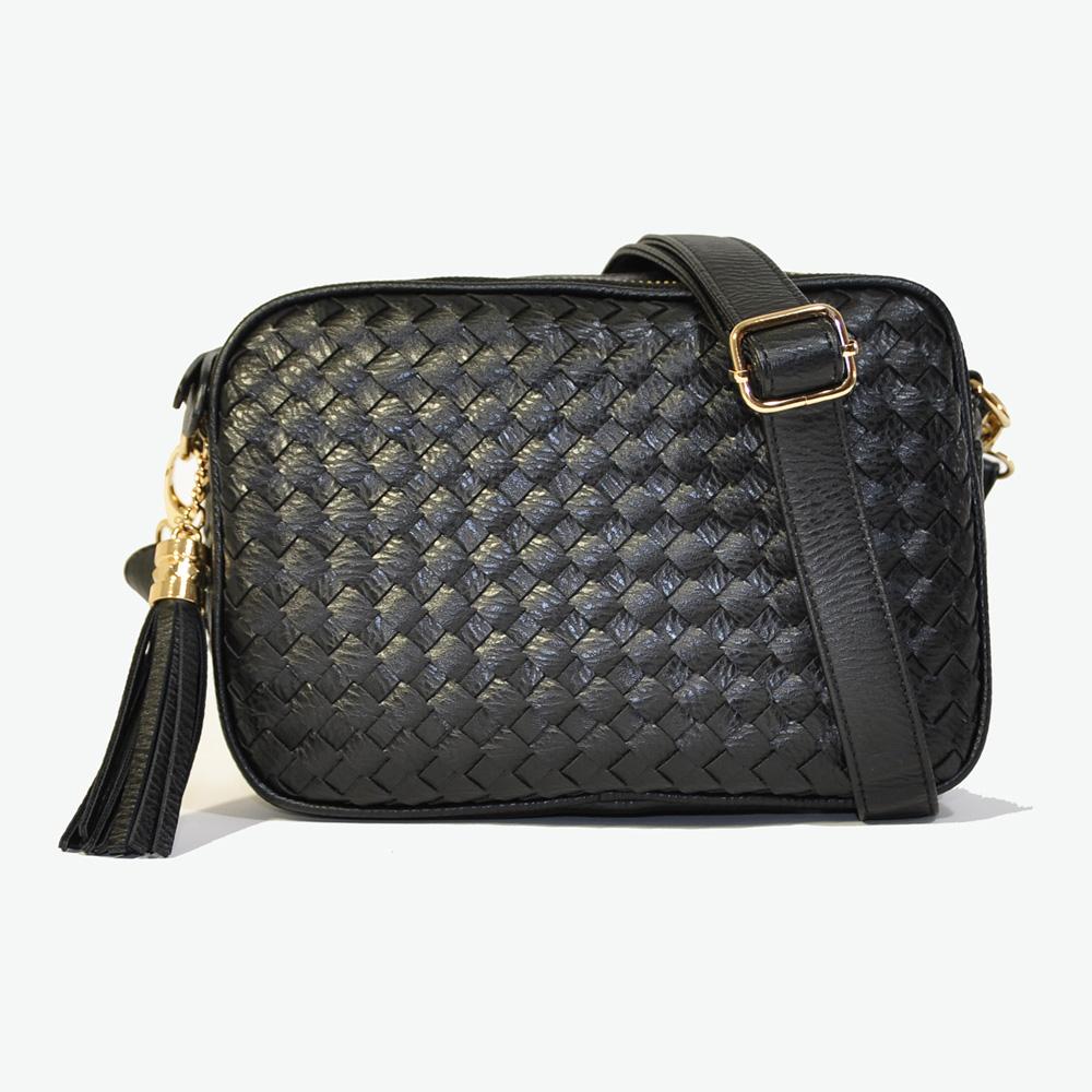 Miyo巴黎時尚經典編織方形流蘇肩斜兩用包(黑色)