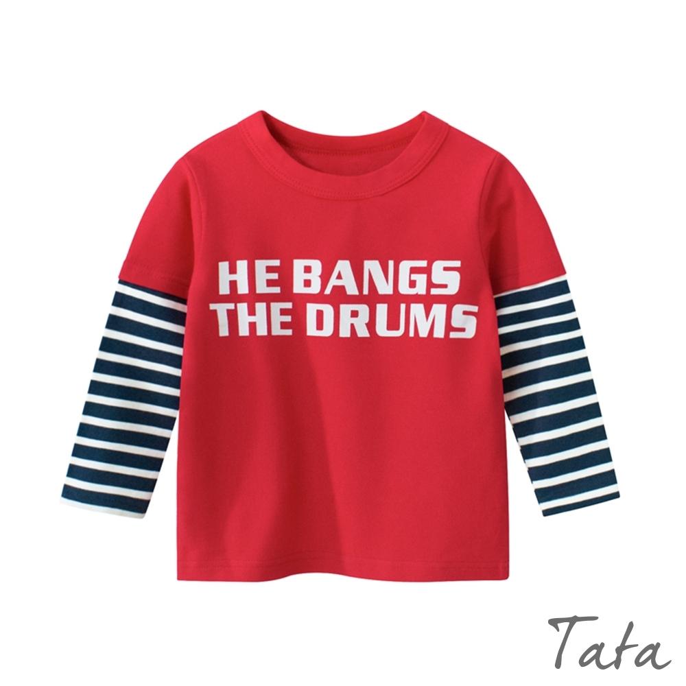 童裝 拼接條紋字母上衣 共二色 TATA KIDS