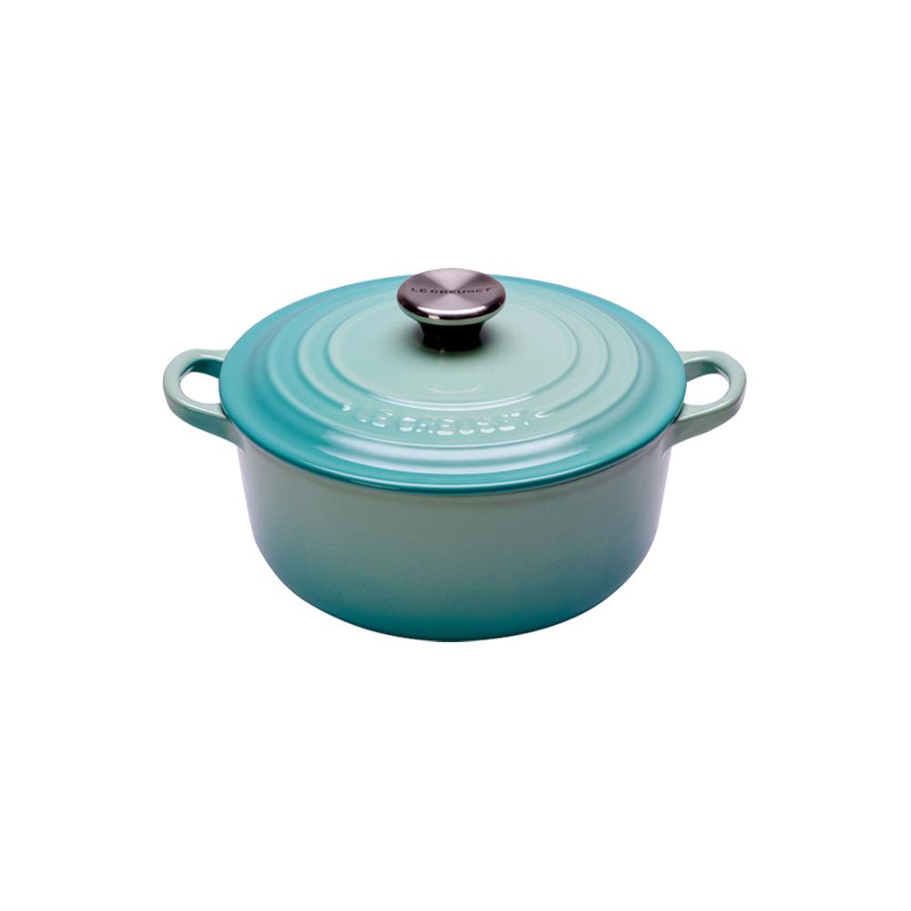 LE CREUSET 琺瑯鑄鐵圓鍋16cm-薄荷綠-鋼頭