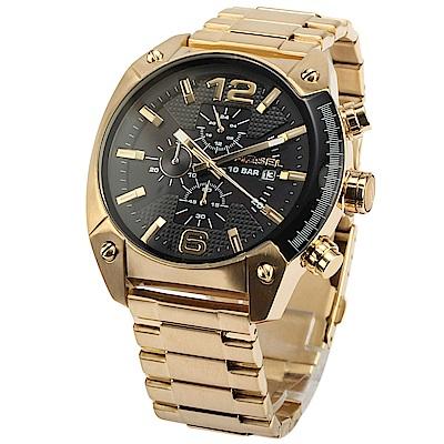 DIESEL Overflow三眼計時金色不鏽鋼腕錶(DZ4342)49mm