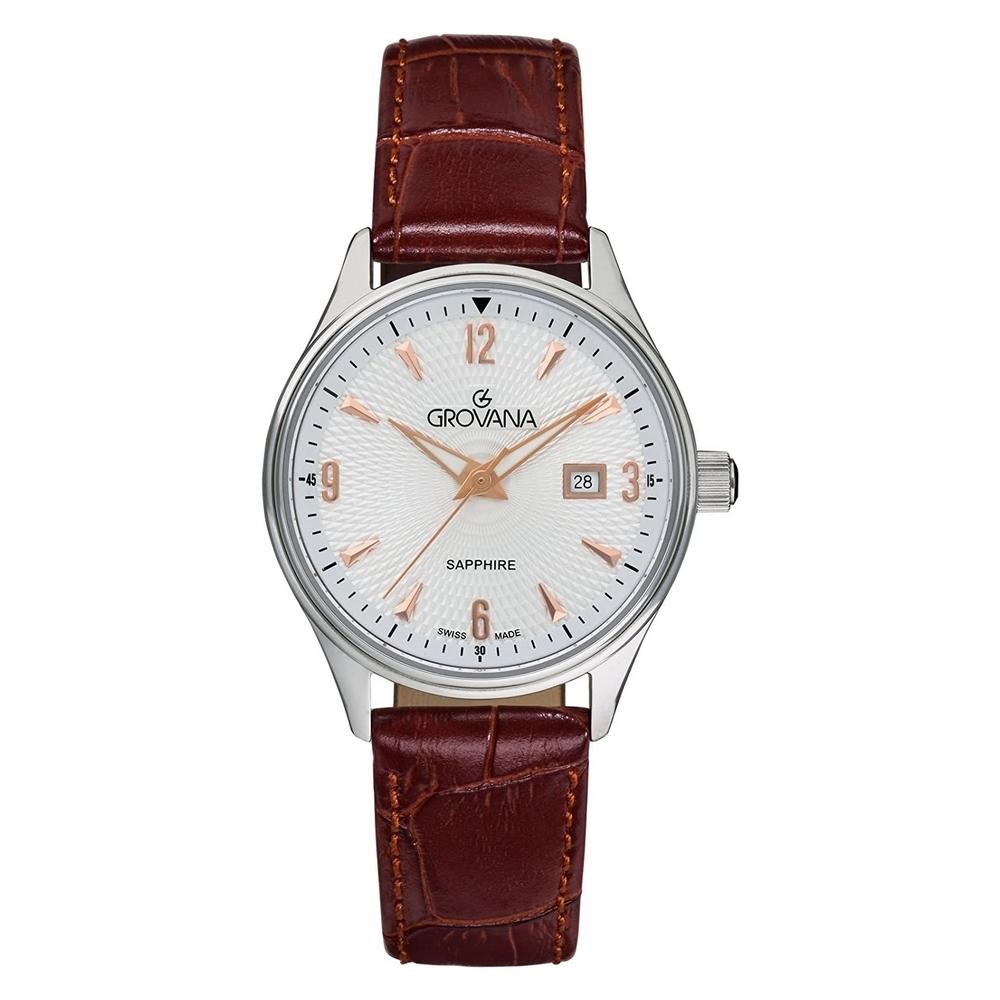 (福利品) GROVANA瑞士錶 經典系列石英女錶(3191.1528)-白面x棕色皮帶/32mm