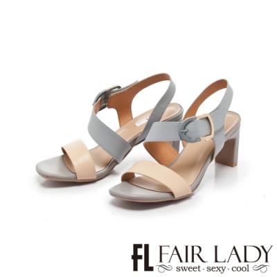 FAIR LADY Early Summer一字斜繞寬帶方頭高跟涼鞋 藍