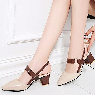 KEITH-WILL時尚鞋館 時尚穿搭名媛必備款粗跟鞋-米白色