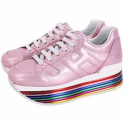 HOGAN Maxi H222 彩色霓虹厚底繫帶休閒鞋(粉色)