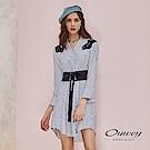 OUWEY歐薇 時尚貼布刺繡剪接腰封條紋洋裝(藍)