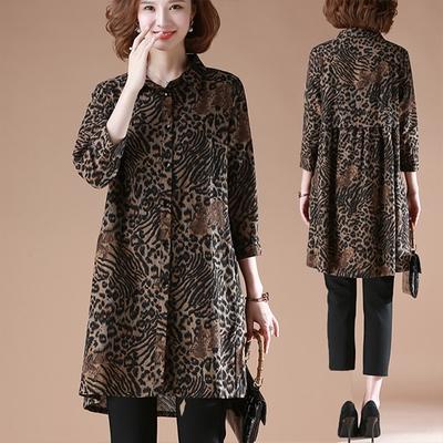 【韓國K.W.】名模等級豹紋襯衫式長洋裝