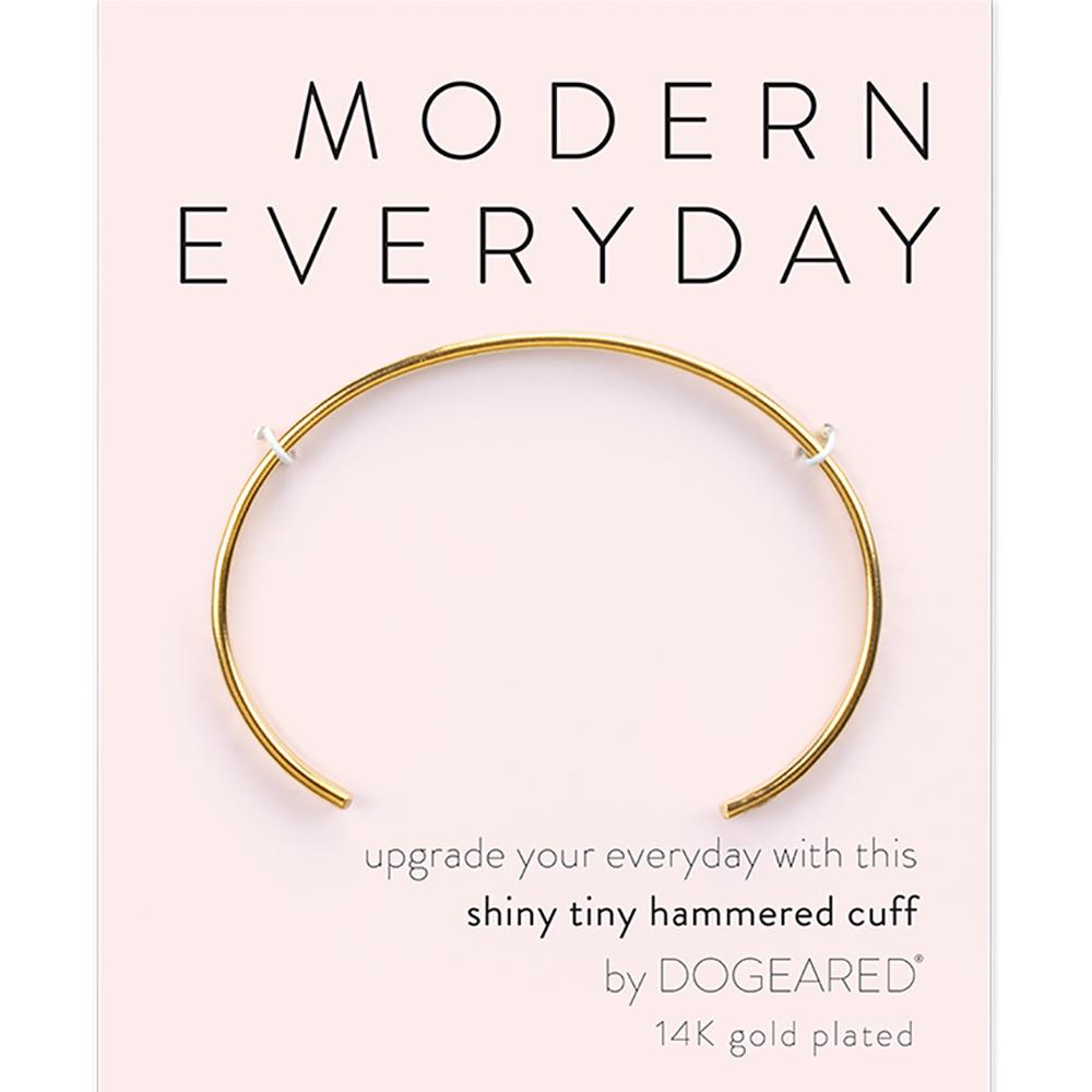 Dogeared modern everyday亮面C型手環 銀色 手工冰裂紋 可調式手環