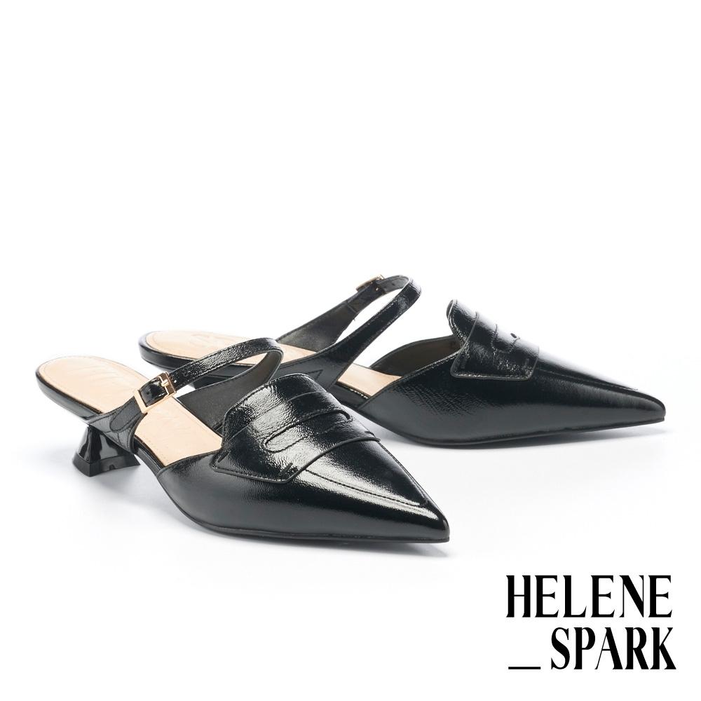 穆勒鞋 HELENE SPARK 時髦摩登羊皮尖頭繫帶貓跟穆勒拖鞋-黑