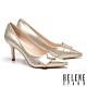 高跟鞋 HELENE SPARK 高雅奢華ㄑ字鑽釦尖頭美型高跟鞋-金 product thumbnail 1