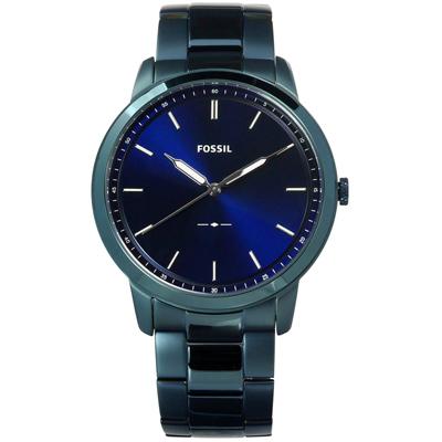 FOSSIL 極簡主義 礦石強化玻璃 夜光 日本機芯 不鏽鋼手錶-藍/44mm