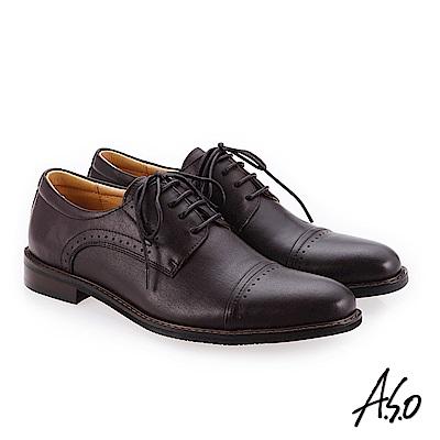 A.S.O 菁英霸足 綁帶牛皮奈米紳士鞋 咖啡