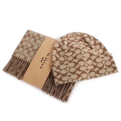 COACH 經典滿版C LOGO羊毛圍巾+針織毛帽雙件組(卡其)