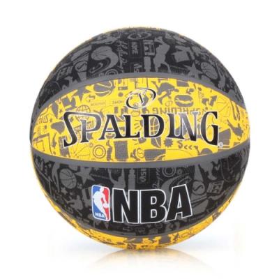 SPALDING NBA塗鴉系列 7號籃球 黑黃灰