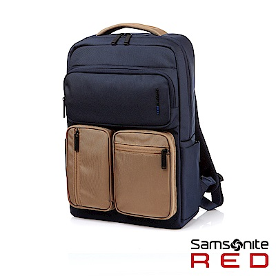 Samsonite RED ALLOSSE 多隔層收納型筆電後背包14(海軍藍/米)